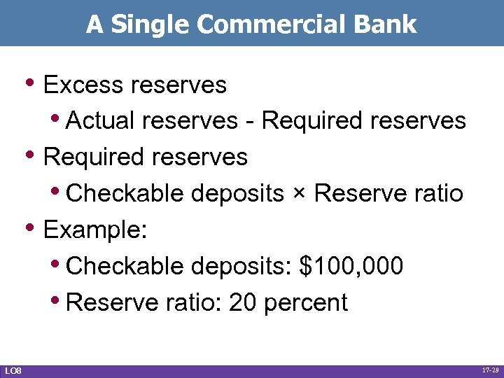 A Single Commercial Bank • Excess reserves • Actual reserves - Required reserves •