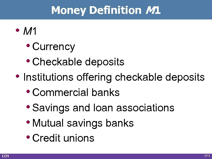 Money Definition M 1 • M 1 • Currency • Checkable deposits • Institutions