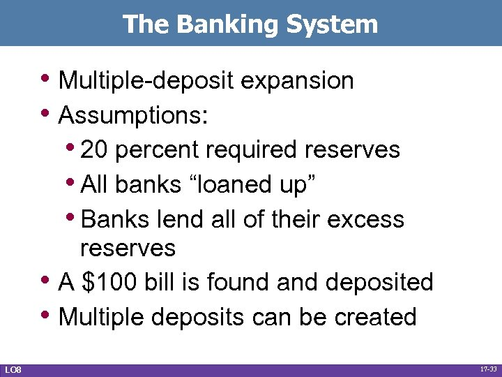 The Banking System • Multiple-deposit expansion • Assumptions: • 20 percent required reserves •