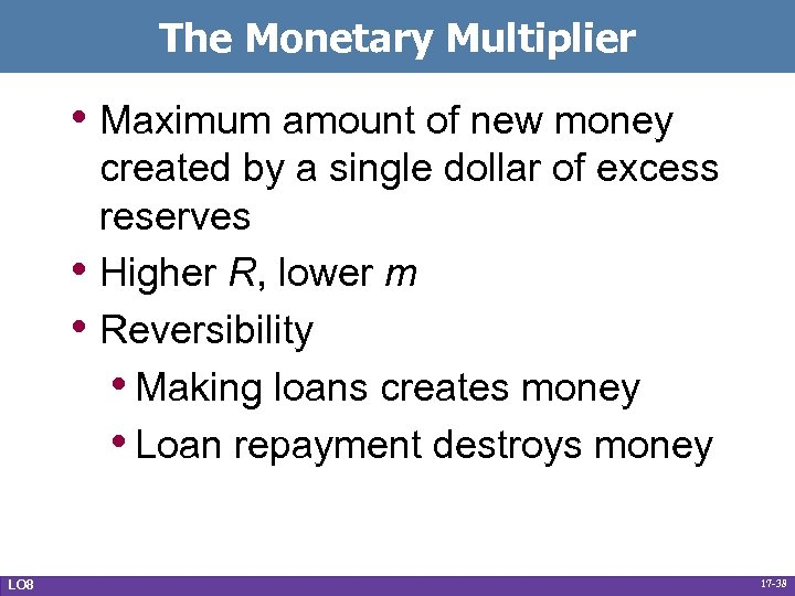 The Monetary Multiplier • Maximum amount of new money • • LO 8 created