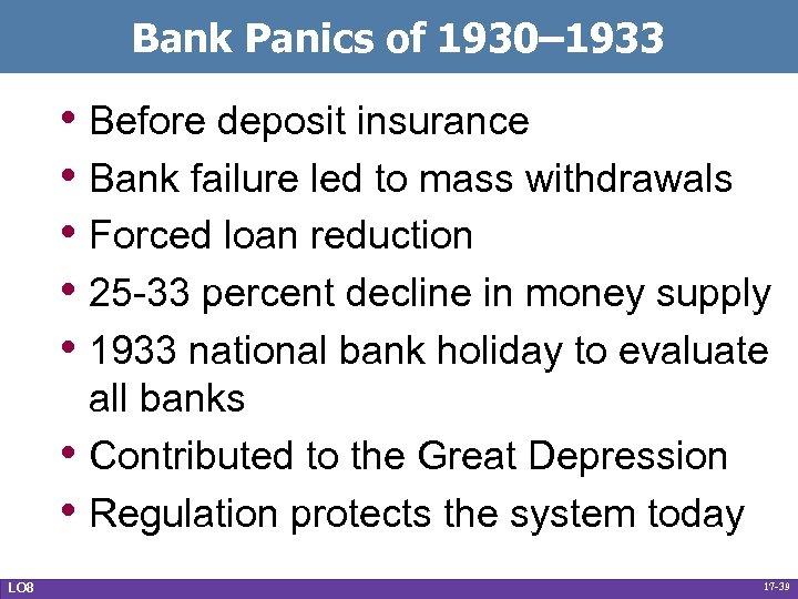 Bank Panics of 1930– 1933 • Before deposit insurance • Bank failure led to