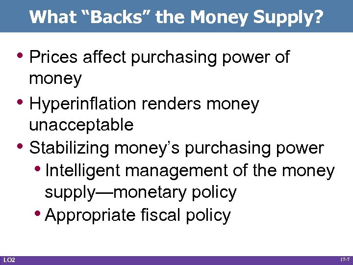 """What """"Backs"""" the Money Supply? • Prices affect purchasing power of • • LO"""