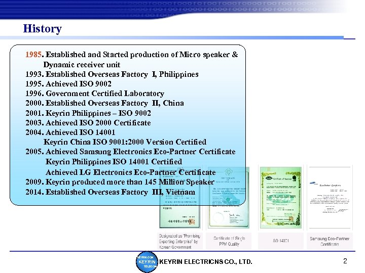 History 1985. Established and Started production of Micro speaker & Dynamic receiver unit 1993.