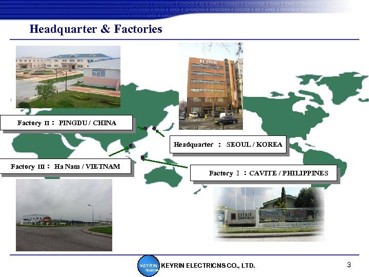 Headquarter & Factories Factory Π : PINGDU / CHINA Headquarter : SEOUL / KOREA Factory Ⅲ
