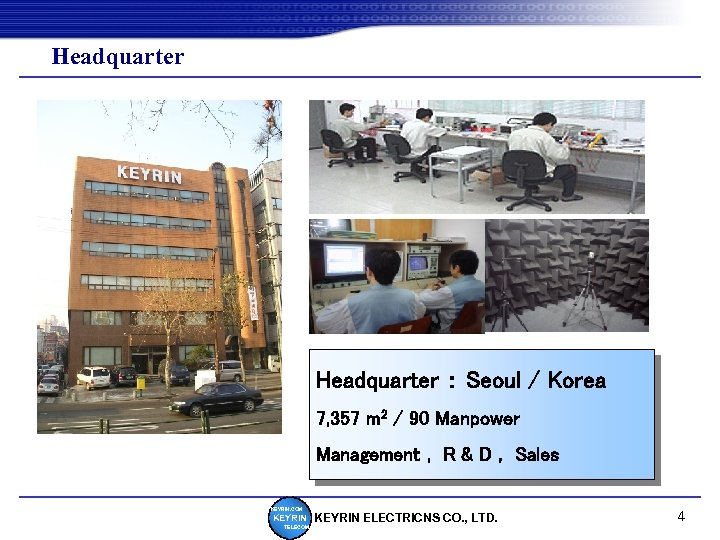 Headquarter : Seoul / Korea 7, 357 m 2 / 90 Manpower Management ,