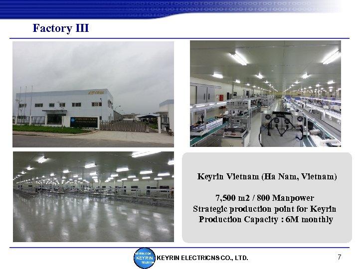 Factory Ⅲ Keyrin Vietnam (Ha Nam, Vietnam) 7, 500 m 2 / 800 Manpower