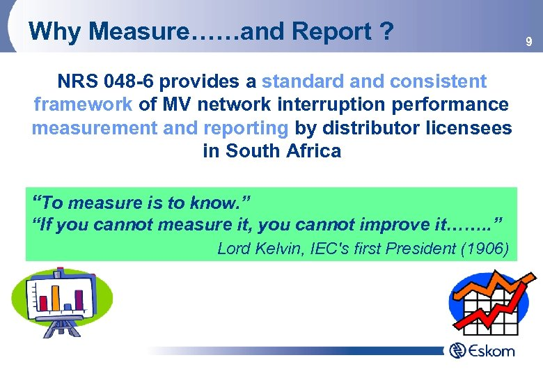 Why Measure……and Report ? NRS 048 -6 provides a standard and consistent framework of
