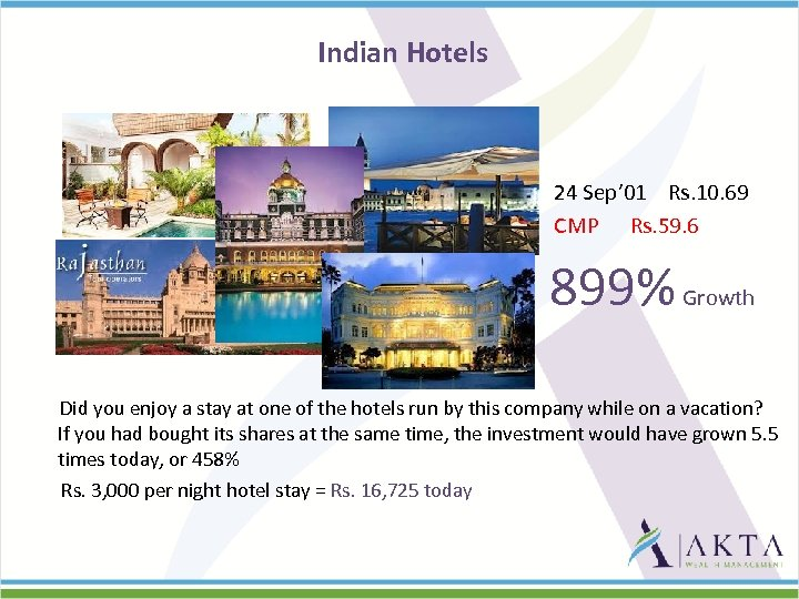 Indian Hotels 24 Sep' 01 Rs. 10. 69 CMP Rs. 59. 6 899% Growth