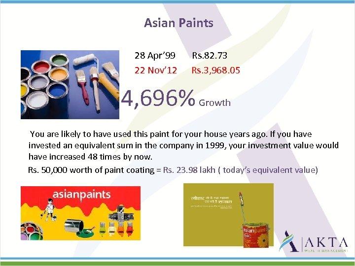 Asian Paints 28 Apr' 99 22 Nov' 12 Rs. 82. 73 Rs. 3, 968.