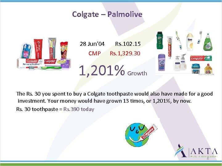 Colgate – Palmolive 28 Jun' 04 Rs. 102. 15 CMP Rs. 1, 329. 30