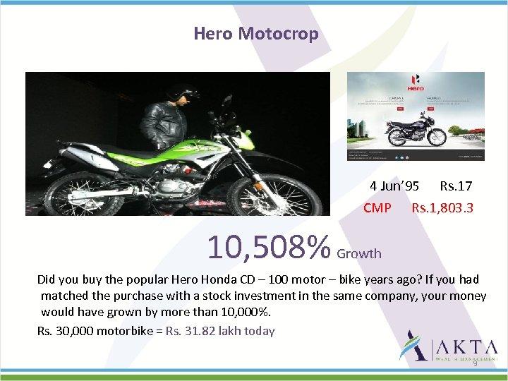 Hero Motocrop 4 Jun' 95 Rs. 17 CMP Rs. 1, 803. 3 10, 508%