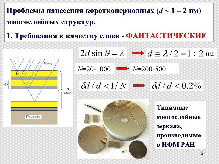 Проблемы нанесения короткопериодных (d ~ 1 – 2 нм) многослойных структур. 1. Требования к