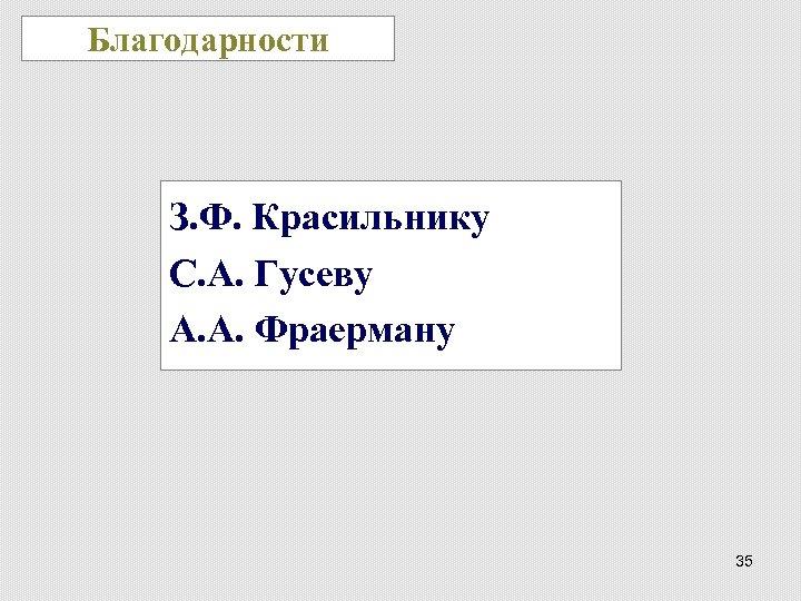 Благодарности З. Ф. Красильнику С. А. Гусеву А. А. Фраерману 35