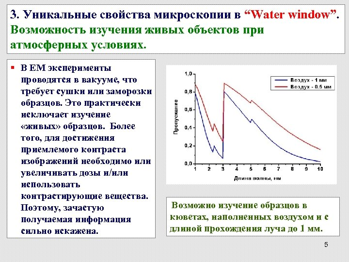 "3. Уникальные свойства микроскопии в ""Water window"". Возможность изучения живых объектов при атмосферных условиях."