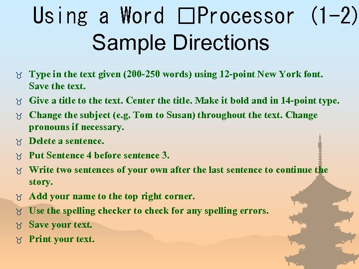 Using a Word Processor (1 -2) Sample Directions _ _ _ _ _ Type