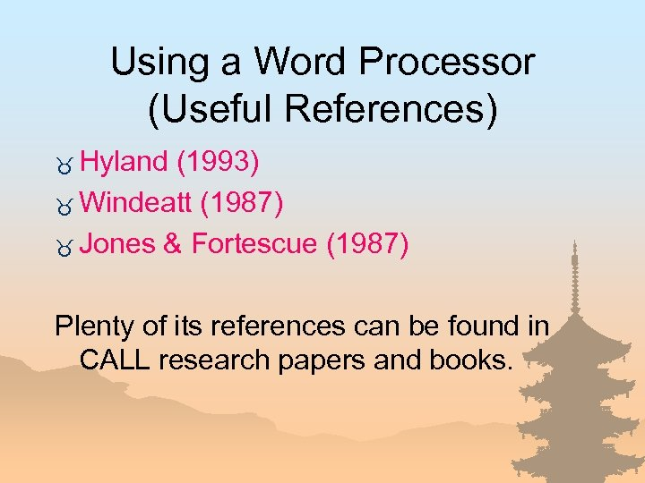 Using a Word Processor (Useful References) _ Hyland (1993) _ Windeatt (1987) _ Jones