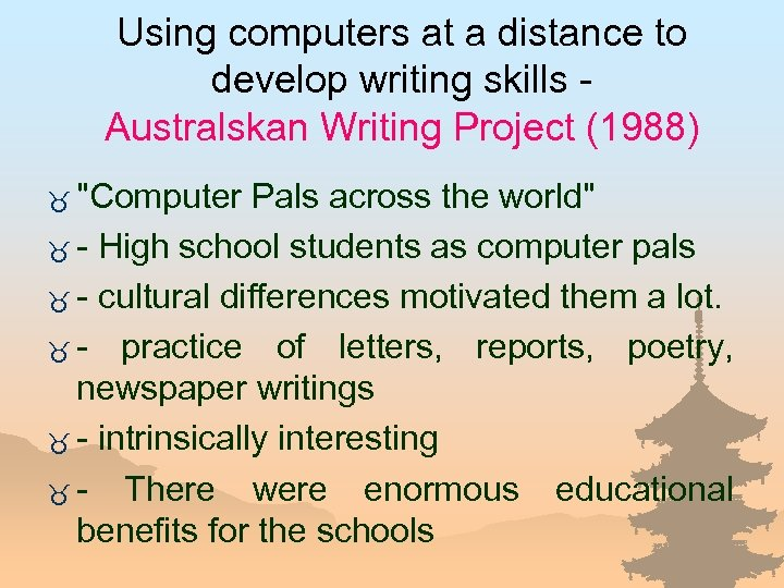 Using computers at a distance to develop writing skills Australskan Writing Project (1988) _