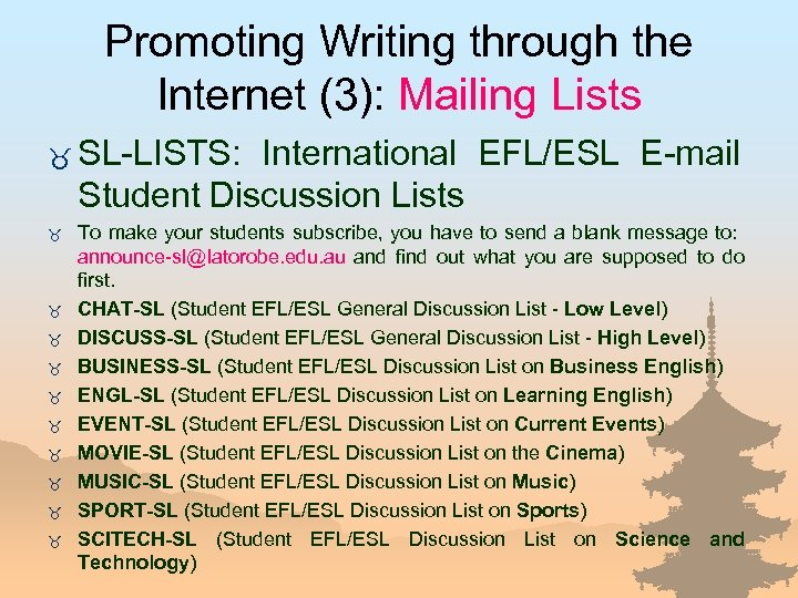 Promoting Writing through the Internet (3): Mailing Lists _ SL-LISTS: International EFL/ESL E-mail Student