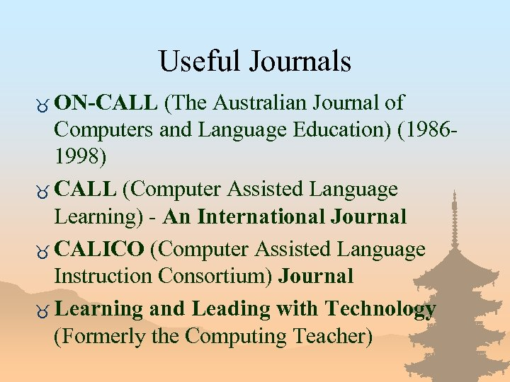 Useful Journals _ ON-CALL (The Australian Journal of Computers and Language Education) (19861998) _