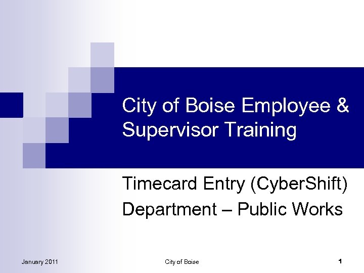 City of Boise Employee & Supervisor Training Timecard Entry (Cyber. Shift) Department – Public