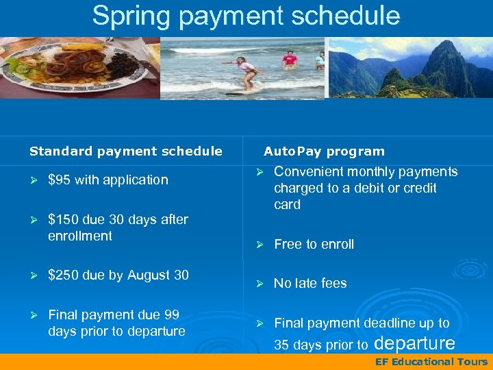Spring payment schedule Standard payment schedule Ø $95 with application Ø $150 due 30