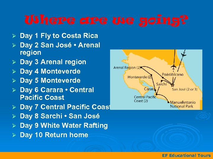 Where are we going? Ø Ø Ø Ø Ø Day 1 Fly to Costa