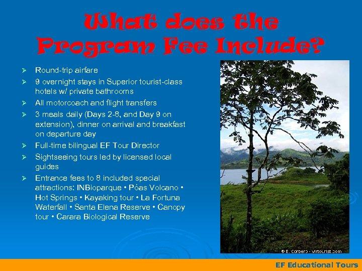 What does the Program Fee Include? Ø Ø Ø Ø Round-trip airfare 9 overnight