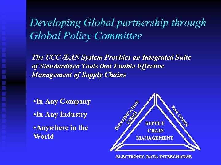 Developing Global partnership through Global Policy Committee The UCC /EAN System Provides an Integrated
