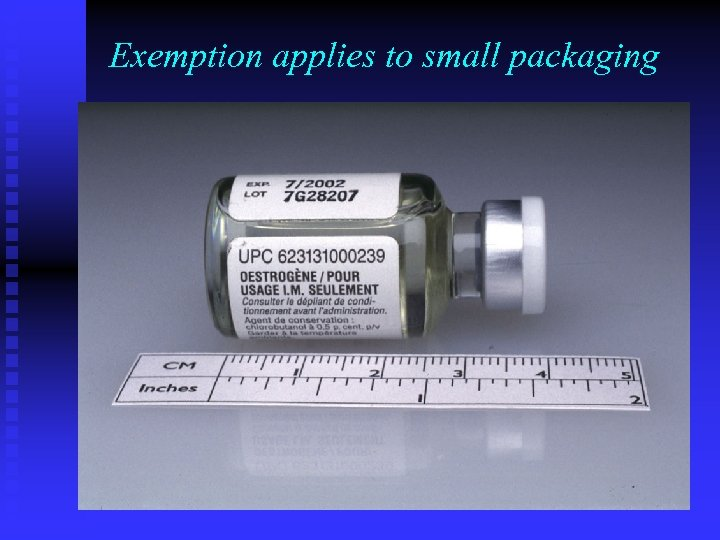 Exemption applies to small packaging