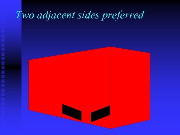 Two adjacent sides preferred