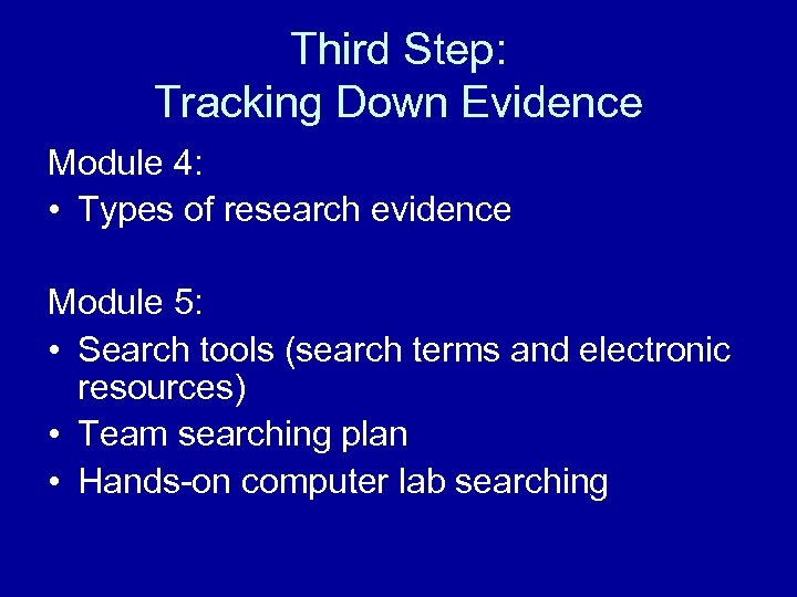 Third Step: Tracking Down Evidence Module 4: • Types of research evidence Module 5: