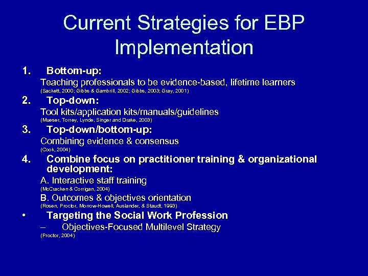 Current Strategies for EBP Implementation 1. Bottom-up: Teaching professionals to be evidence-based, lifetime learners