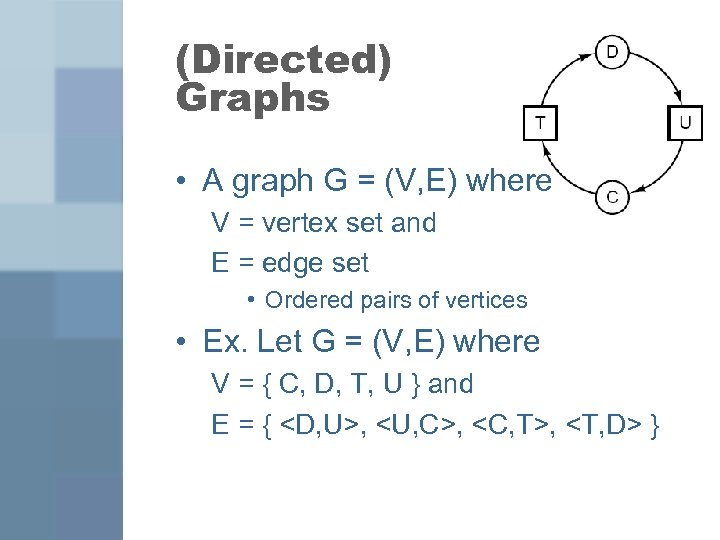(Directed) Graphs • A graph G = (V, E) where V = vertex set