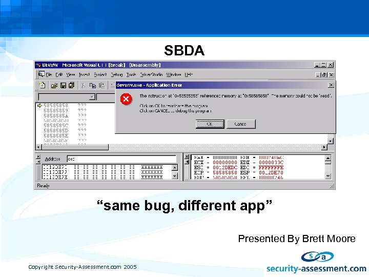 "SBDA ""same bug, different app"" Presented By Brett Moore Copyright Security-Assessment. com 2005"