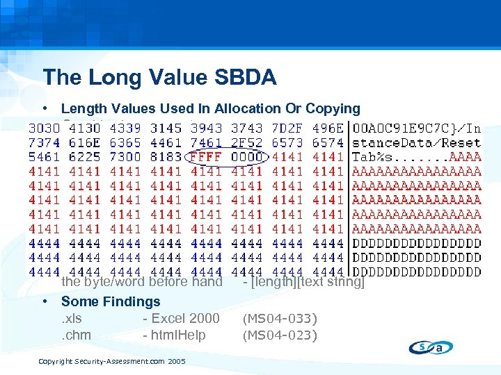 The Long Value SBDA • Length Values Used In Allocation Or Copying Graphic size