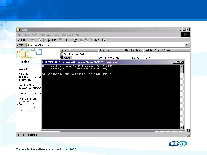 The Webview SBDA • May 10, 2005 Vulnerability In Web View When explorer is