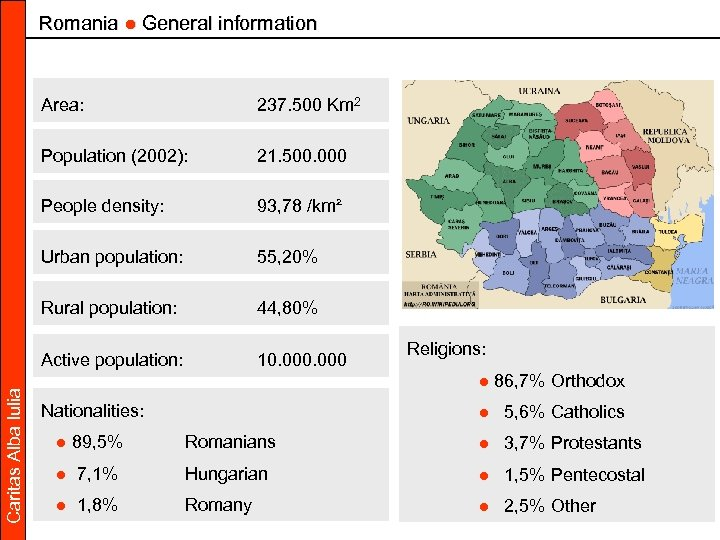Romania ● General information 237. 500 Km 2 Population (2002): 21. 500. 000 People