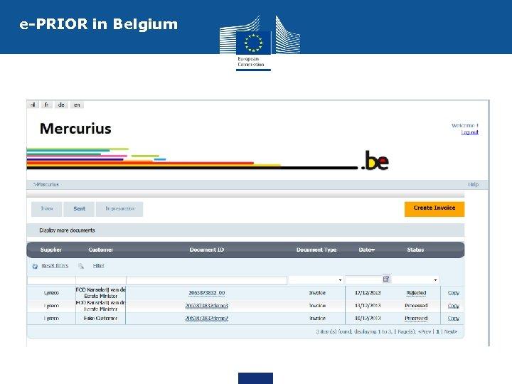 e-PRIOR in Belgium