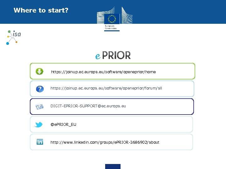 Where to start? https: //joinup. ec. europa. eu/software/openeprior/home https: //joinup. ec. europa. eu/software/openeprior/forum/all DIGIT-EPRIOR-SUPPORT@ec.