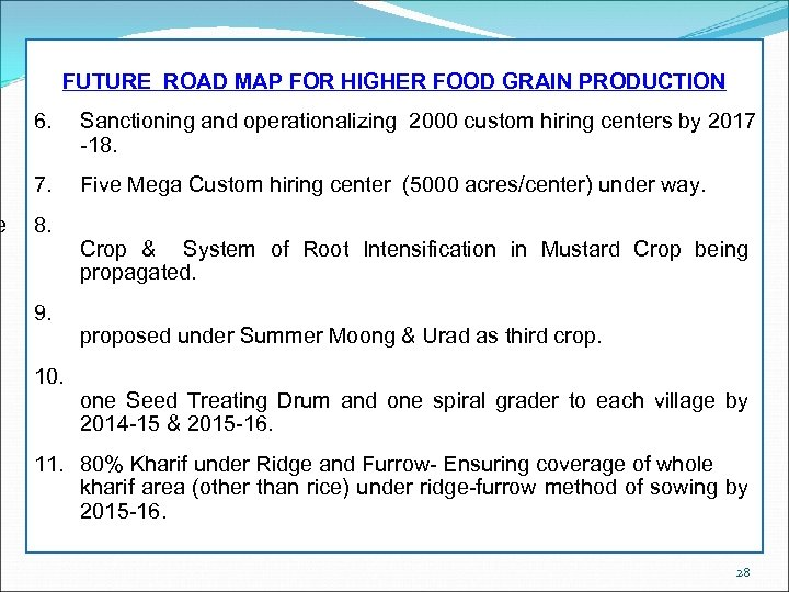 e FUTURE ROAD MAP FOR HIGHER FOOD GRAIN PRODUCTION 6. Sanctioning and operationalizing 2000