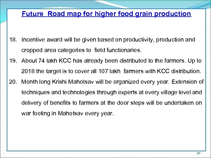 Future Road map for higher food grain production 18. Incentive award will be given