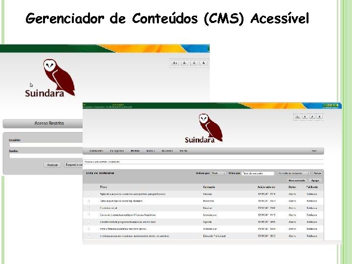 Gerenciador de Conteúdos (CMS) Acessível