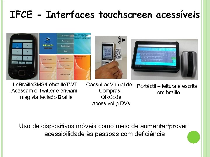 - Sintetizador de voz e. Speak SVOX IFCE - Interfaces touchscreen acessíveis Le. Braille.