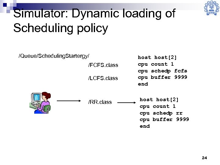 Simulator: Dynamic loading of Scheduling policy /Queue/Scheduling. Startergy/ /FCFS. class /LCFS. class /RR. class