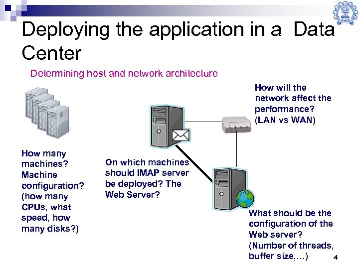 Deploying the application in a Data Center Determining host and network architecture How will