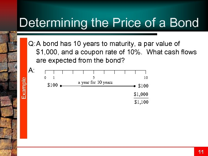 Determining the Price of a Bond Example Q: A bond has 10 years to