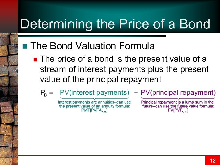 Determining the Price of a Bond n The Bond Valuation Formula n The price