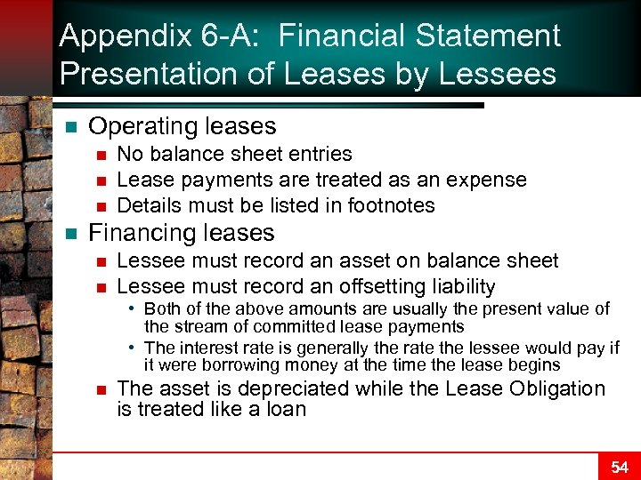Appendix 6 -A: Financial Statement Presentation of Leases by Lessees n Operating leases n