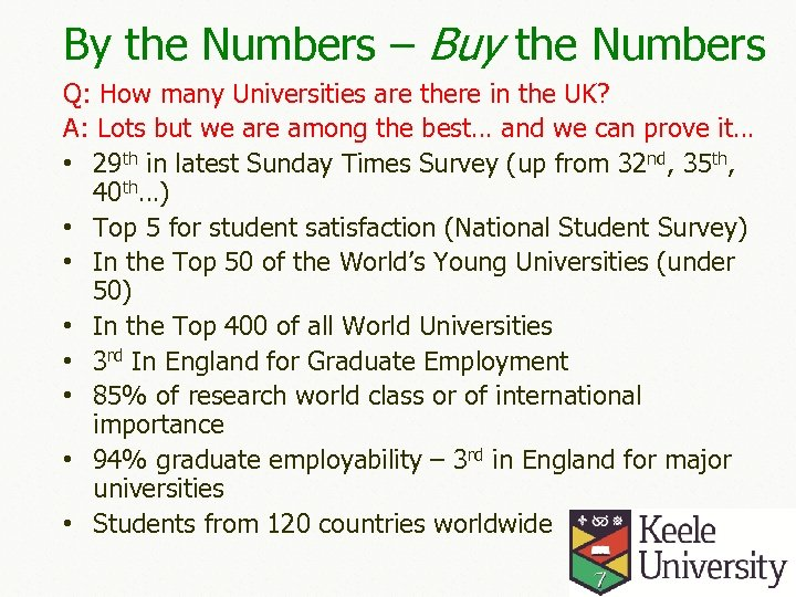 By the Numbers – Buy the Numbers Q: How many Universities are there in