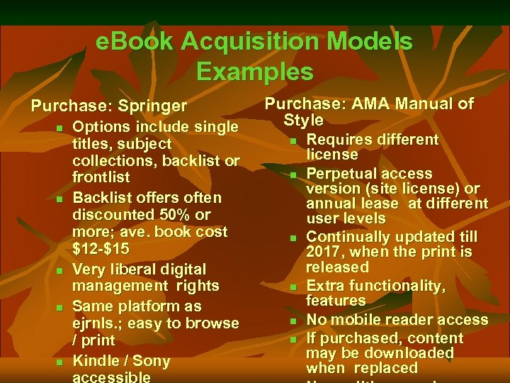 e. Book Acquisition Models Examples Purchase: Springer n n n Options include single titles,